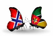 Two Butterflies With Flags On Wings As Symbol Of Relations Norway And Mozambique