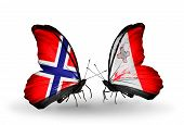 Two Butterflies With Flags On Wings As Symbol Of Relations Norway And Malta