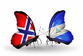 Two Butterflies With Flags On Wings As Symbol Of Relations Norway And Nicaragua