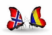 Two Butterflies With Flags On Wings As Symbol Of Relations Norway And Chad, Romania