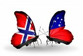 pic of samoa  - Two butterflies with flags on wings as symbol of relations Norway and Samoa - JPG