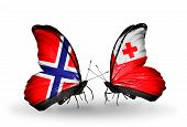 Two Butterflies With Flags On Wings As Symbol Of Relations Norway And Tonga
