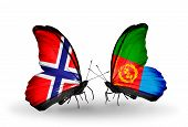 Two Butterflies With Flags On Wings As Symbol Of Relations Norway And Eritrea