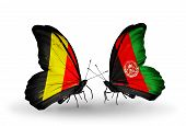 Two Butterflies With Flags On Wings As Symbol Of Relations Belgium And Afghanistan