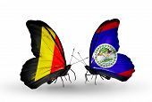 Two Butterflies With Flags On Wings As Symbol Of Relations Belgium And Belize