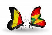 Two Butterflies With Flags On Wings As Symbol Of Relations Belgium And Grenada