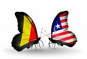 Two Butterflies With Flags On Wings As Symbol Of Relations Belgium And Liberia
