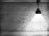 stock photo of wall-stone  - White grunge brick wall and black plafond are lights wall and floor from stone - JPG