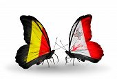 Two Butterflies With Flags On Wings As Symbol Of Relations Belgium And Malta