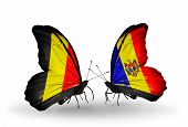 Two Butterflies With Flags On Wings As Symbol Of Relations Belgium And Moldova