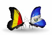 Two Butterflies With Flags On Wings As Symbol Of Relations Belgium And  Salvador