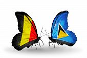 Two Butterflies With Flags On Wings As Symbol Of Relations Belgium And Saint Lucia