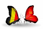 Two Butterflies With Flags On Wings As Symbol Of Relations Belgium And Soviet Union