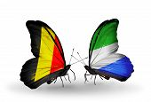 Two Butterflies With Flags On Wings As Symbol Of Relations Belgium And Sierra Leone