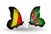 Two Butterflies With Flags On Wings As Symbol Of Relations Belgium And Turkmenistan