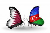 Two Butterflies With Flags On Wings As Symbol Of Relations Qatar And Azerbaijan