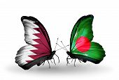 Two Butterflies With Flags On Wings As Symbol Of Relations Qatar And Bangladesh