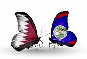 Two Butterflies With Flags On Wings As Symbol Of Relations Qatar And Belize