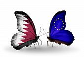 Two Butterflies With Flags On Wings As Symbol Of Relations Qatar And Eu