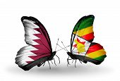 Two Butterflies With Flags On Wings As Symbol Of Relations Qatar And Zimbabwe