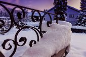 Metal railing in wonderful landscape