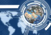 stock photo of eastern hemisphere  - A Technology Communications System Design with map of Western Hemisphere and Eastern Hemisphere globe - JPG
