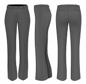 Formal black trousers for women (front, back and side views). Vector illustration.