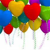 Balloons as hearts isolated on white background.