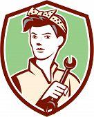 Female Mechanic Worker Holding Spanner Retro