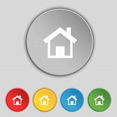Home Sign Icon. Main Page Button. Navigation Symbol.set Colourful Buttons Vector