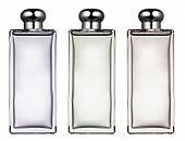 Three Stylish Rectangular Glass Bottles