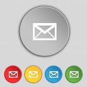 Mail Icon. Envelope Symbol. Message Sign. Navigation Button Set Colour Buttons Vector