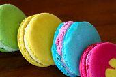 Colorful macarons set on table, traditional french colorful macarons ,Sweet macarons.