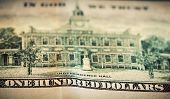 In God We Trust motto on One Hundred Dollars bill. Conceptual, The United States of America