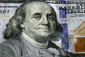 One Hundred Dollars. Selective focus on Benjamin Franklin eyes. USD, The United States currency, money concept