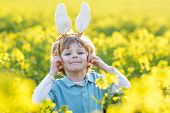 Funny Kid Of 3 Years With Easter Bunny Ears, Celebrating Easter Holiday