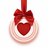 Badge with heart, red ribbon and bow, isolated on white background
