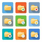 Flat Folder Icons. Vector Illustration