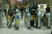 People Without Pants Arriving In Metro Station During The