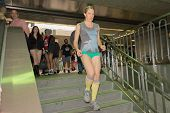 Woman Without Pants Down The Stairs During The