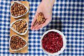 Almonds, hazelnuts, walnuts and pomegranate