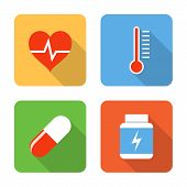Flat Healthcare Icons. Vector Illustration