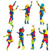Happy Children Silhouettes Patterned Colorful Mosaic Background