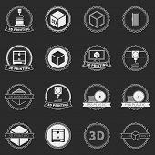 Vector set of 3D printer logos or icons