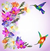 Lilac card with freesia flowers and humming birds