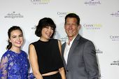 LOS ANGELES - JAN 8:  Bailee Madison, Catherine Bell, James Denton at the Hallmark TCA Party at a Tournament House on January 8, 2014 in Pasadena, CA