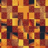 Abstract grunge background with retro design elements and different color patterns: purple (violet); brown; gray; red (orange); yellow (beige)