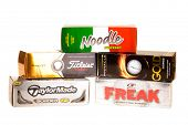 Hayward, CA - January 11, 2015: Selection of of various golf balls in packets, including, Titleist, Noodle, Pnnacle, Freak, and Taylor Made