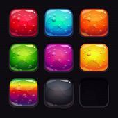 Colorful glassy buttons with bubbles