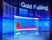 Gold Falling Economic Global Business Investment Concept